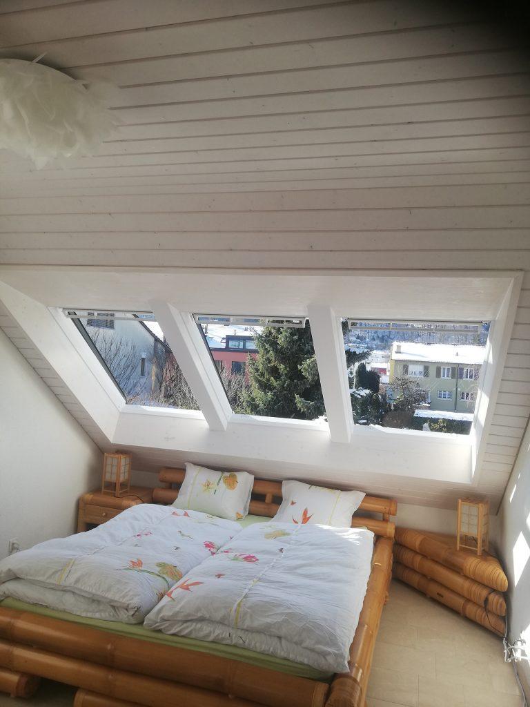 Dreier Kombination VELUX Dachfenster mit individuell gefertigtem Innenfutter