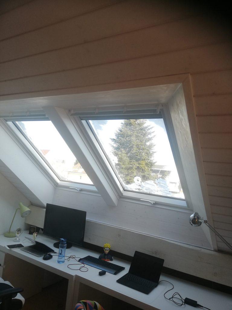Doppelkombination VELUX Dachfenster mit individuell gefertigtem Innenfutter